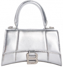 Hourglass XS Top Handle Bag Silver